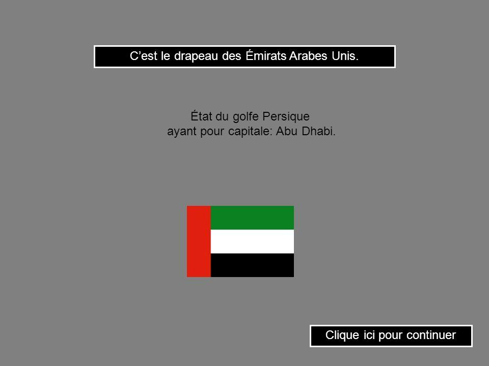 Cest le drapeau de Bahrein. Clique ici pour continuer État du golfe Persique ayant pour capitale: Manama.