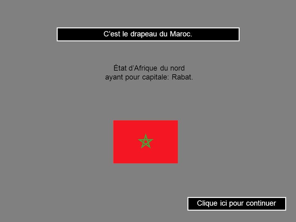 Cest le drapeau de la Tunisie. État dAfrique du nord ayant pour capitale: Tunis. Clique ici pour continuer