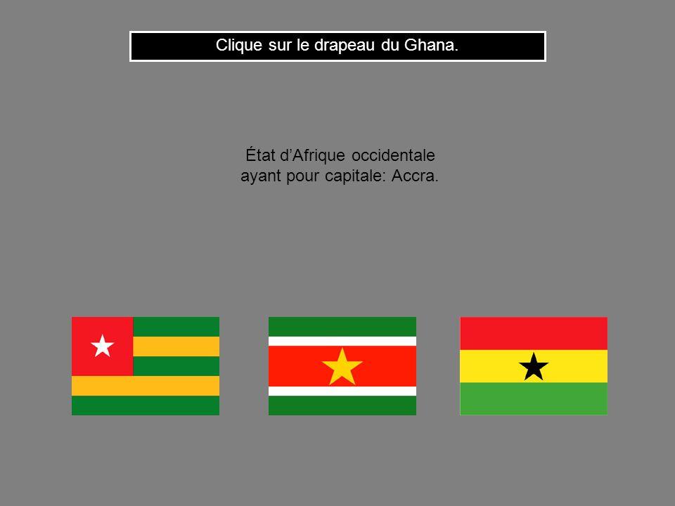 Cest le drapeau du Maroc. Clique ici pour continuer État dAfrique du nord ayant pour capitale: Rabat.