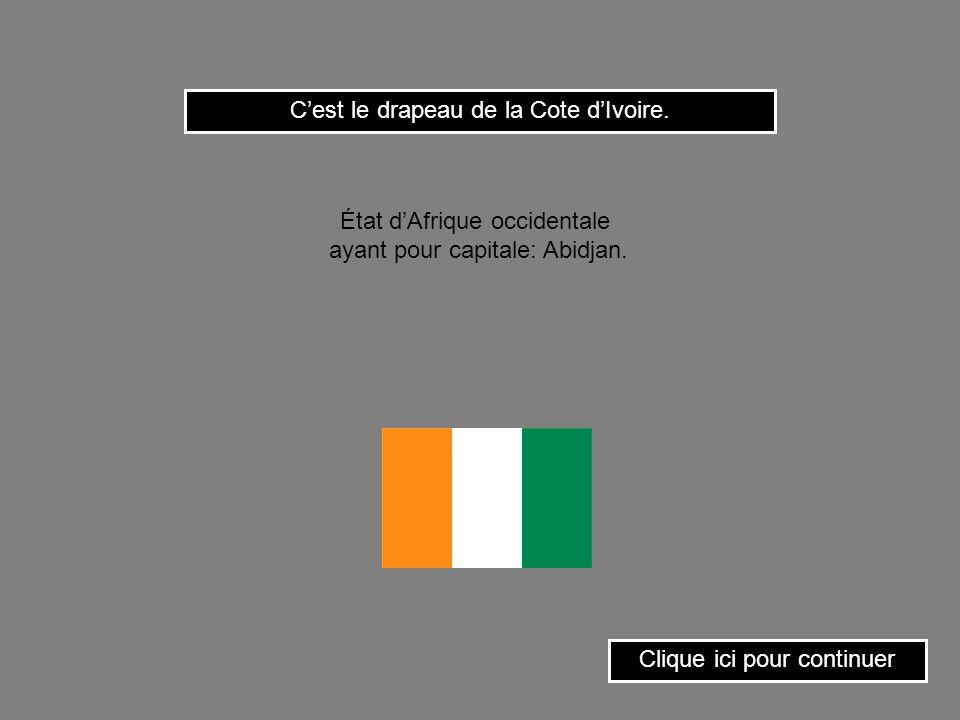 Cest le drapeau de la Guinée. Clique ici pour continuer État dAfrique occidentale ayant pour capitale: Conakry.