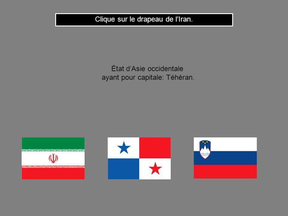 Cest le drapeau de la Syrie. Clique ici pour continuer État du Proche-Orient ayant pour capitale: Damas.