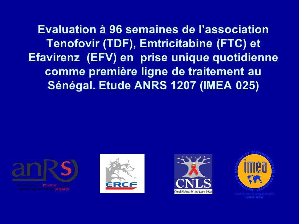 Evaluation à 96 semaines de lassociation Tenofovir (TDF), Emtricitabine (FTC) et Efavirenz (EFV) en prise unique quotidienne comme première ligne de traitement au Sénégal.