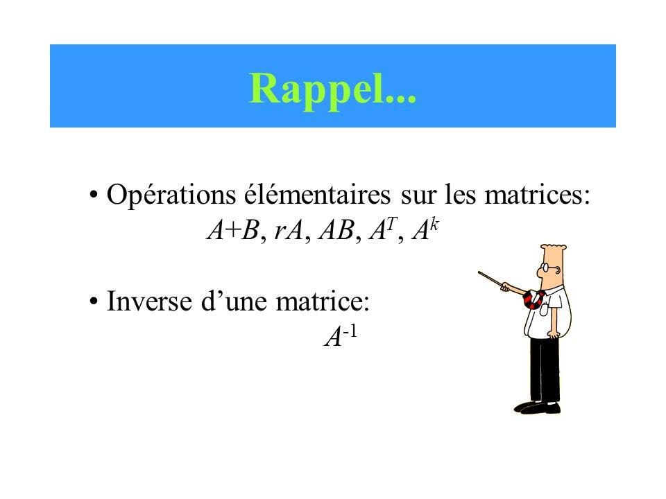 Rappel... Opérations élémentaires sur les matrices: A+B, rA, AB, A T, A k Inverse dune matrice: A -1