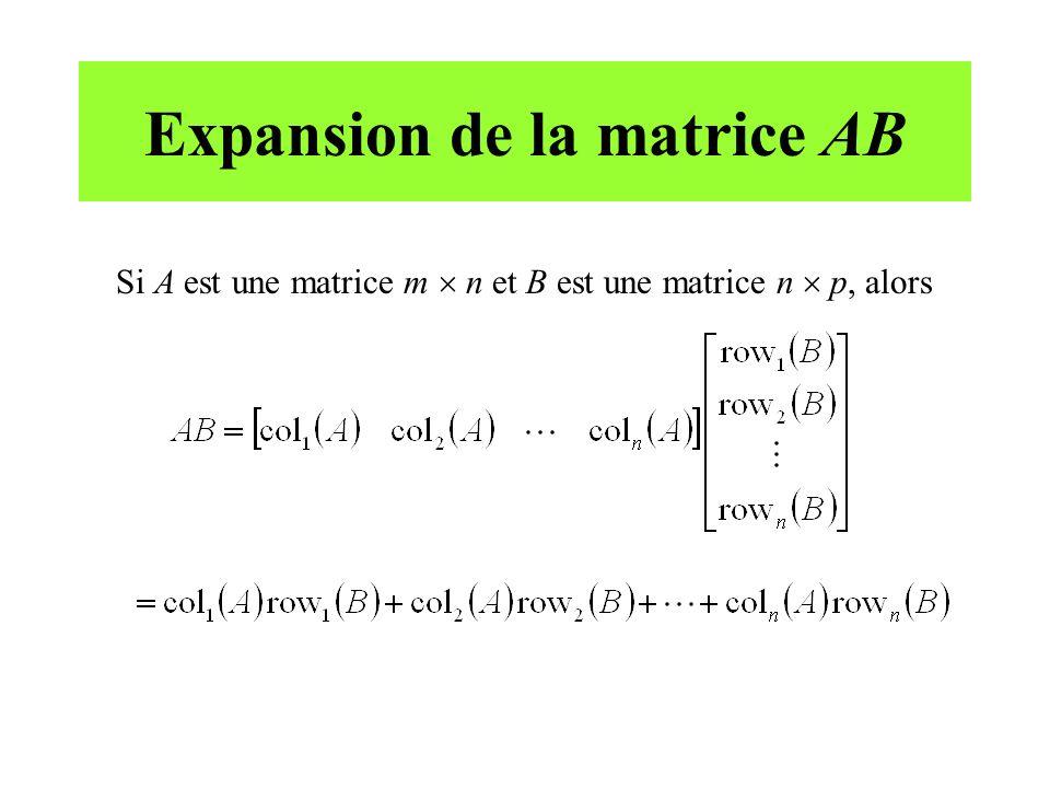 Expansion de la matrice AB Si A est une matrice m n et B est une matrice n p, alors
