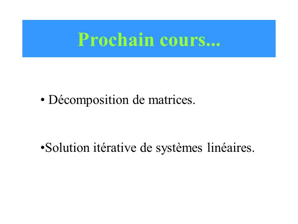 Prochain cours... Décomposition de matrices. Solution itérative de systèmes linéaires.