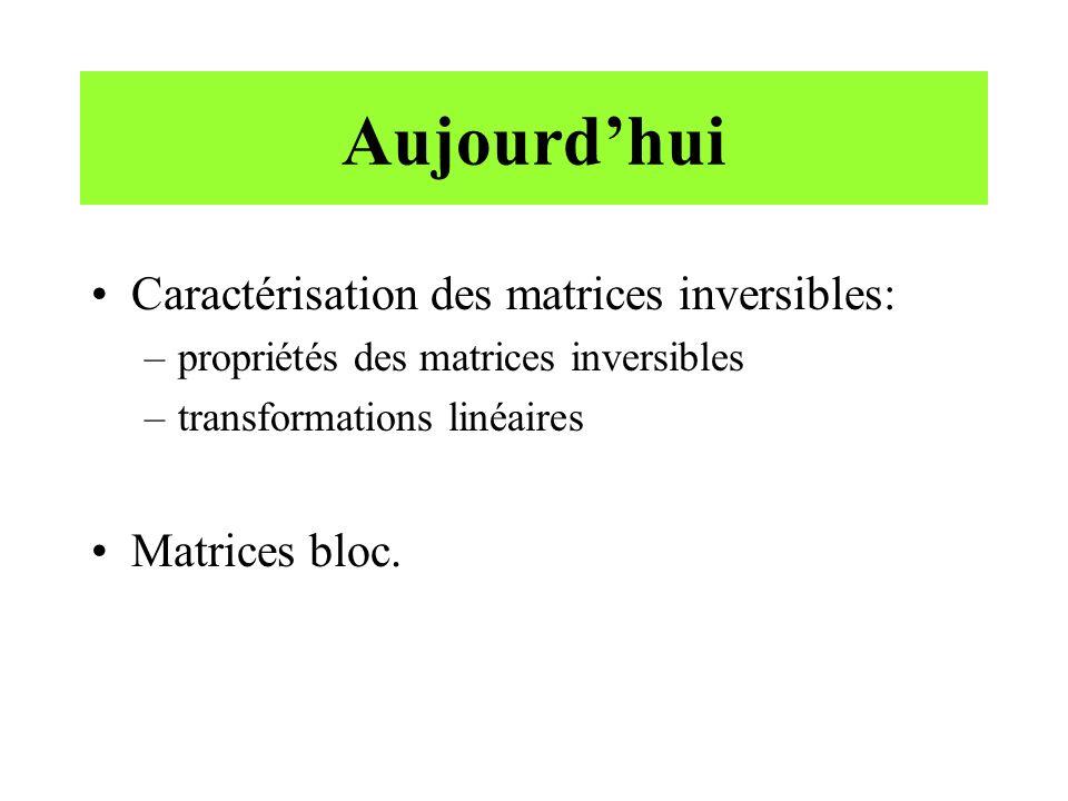 Inverse dune matrice bloc Soit une matrice bloc ayant la forme suivante où A 11 est une matrice p p et A 22 est une matrice q q.