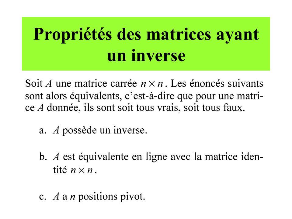 Propriétés des matrices ayant un inverse