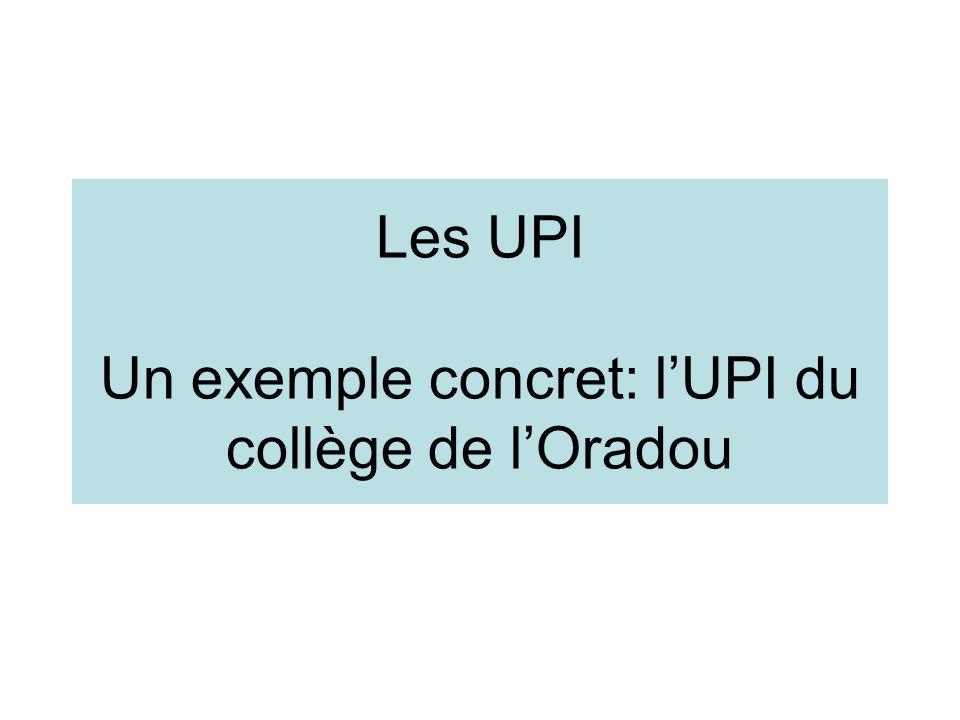 Les UPI Un exemple concret: lUPI du collège de lOradou