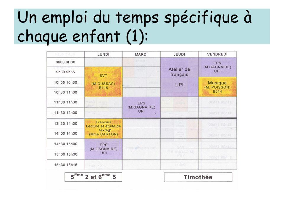 Un emploi du temps spécifique à chaque enfant (1):