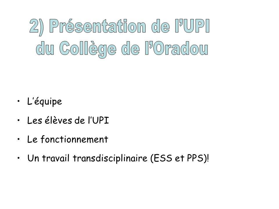 Léquipe Les élèves de lUPI Le fonctionnement Un travail transdisciplinaire (ESS et PPS)!