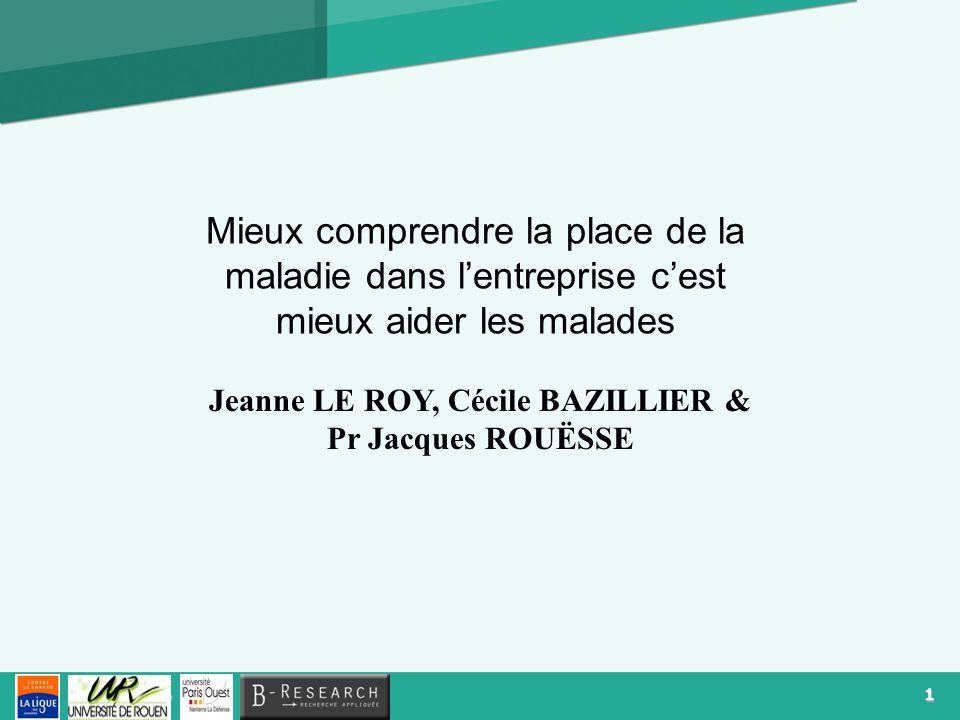 1 Logo Mieux comprendre la place de la maladie dans lentreprise cest mieux aider les malades Jeanne LE ROY, Cécile BAZILLIER & Pr Jacques ROUËSSE