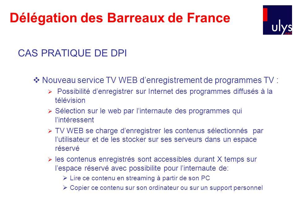 Délégation des Barreaux de France CAS PRATIQUE DE DPI Nouveau service TV WEB denregistrement de programmes TV : Possibilité denregistrer sur Internet