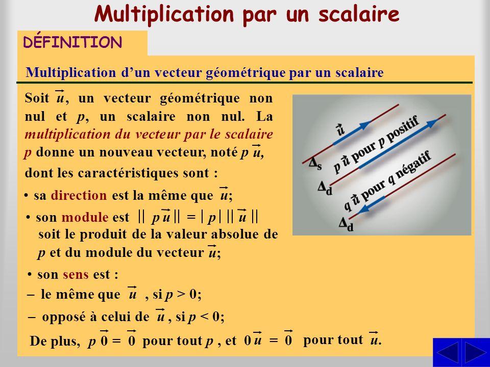 p Multiplication par un scalaire DÉFINITION Multiplication dun vecteur géométrique par un scalaire dont les caractéristiques sont :, un vecteur géométrique non nul et p, un scalaire non nul.