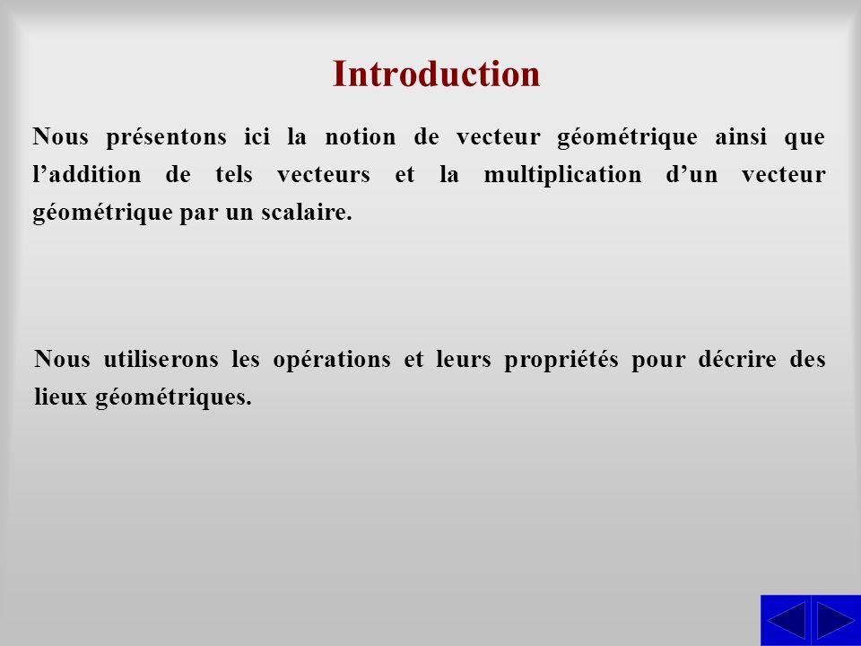 Nous présentons ici la notion de vecteur géométrique ainsi que laddition de tels vecteurs et la multiplication dun vecteur géométrique par un scalaire.