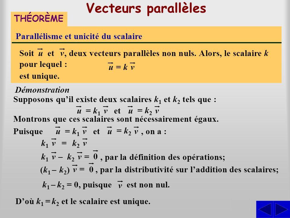 Vecteurs parallèles THÉORÈME Parallélisme et unicité du scalaire Supposons quil existe deux scalaires k 1 et k 2 tels que : Démonstration S, deux vecteurs parallèles non nuls.