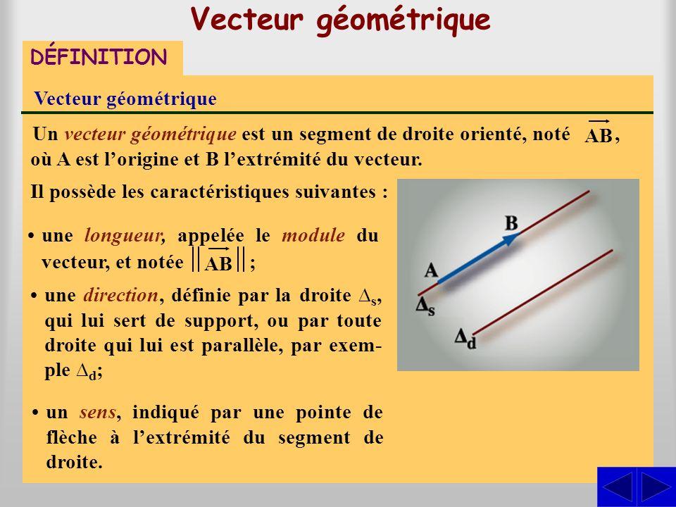 une longueur, appelée le module du vecteur, et notée Vecteur géométrique DÉFINITION Vecteur géométrique Un vecteur géométrique est un segment de droite orienté, noté, où A est lorigine et B lextrémité du vecteur.
