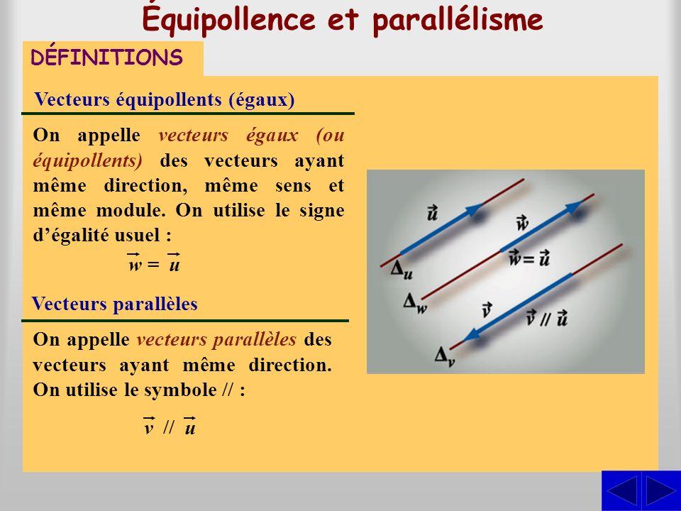 Équipollence et parallélisme DÉFINITIONS Vecteurs équipollents (égaux) On appelle vecteurs égaux (ou équipollents) des vecteurs ayant même direction,