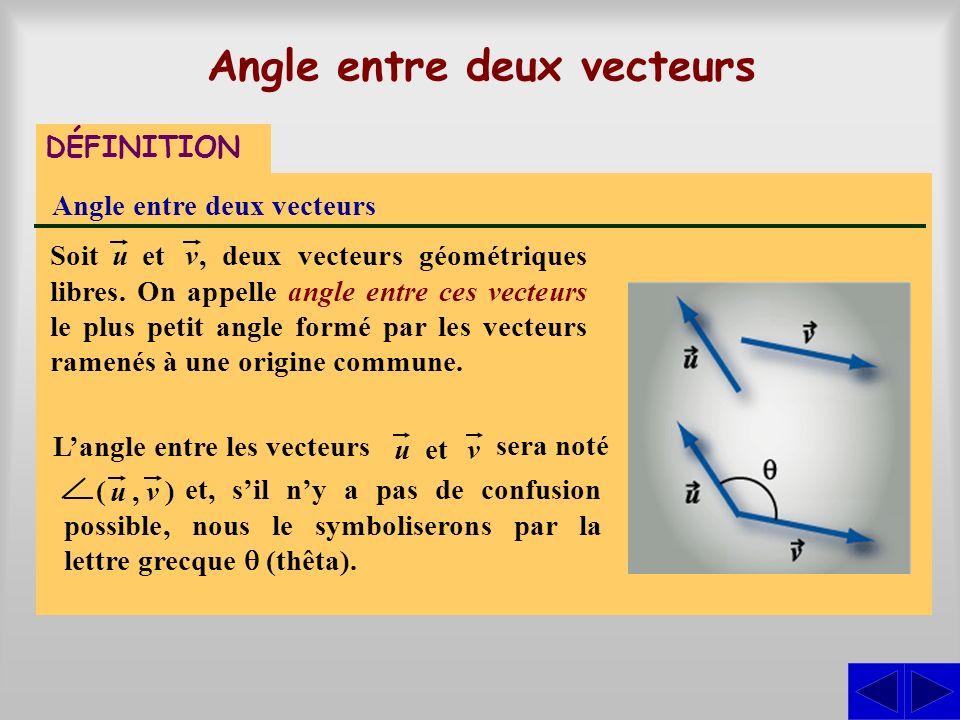 Angle entre deux vecteurs DÉFINITION Angle entre deux vecteurs, deux vecteurs géométriques libres. On appelle angle entre ces vecteurs le plus petit a