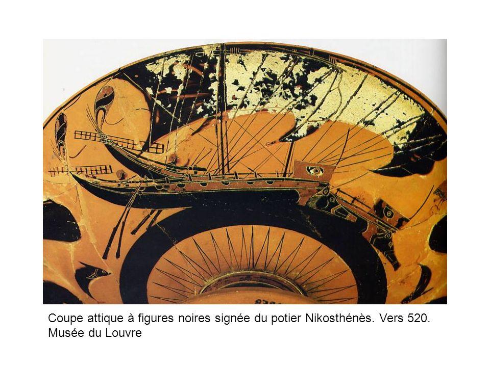 Coupe attique à figures noires signée du potier Nikosthénès. Vers 520. Musée du Louvre