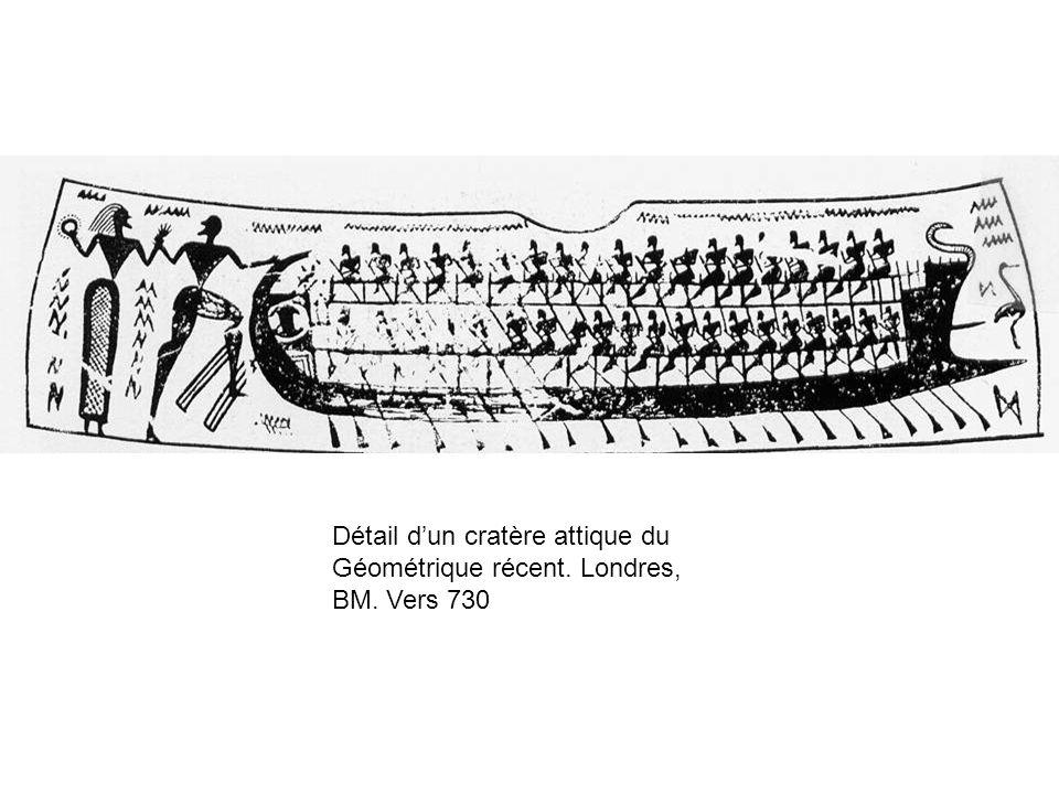 Détail dun cratère attique du Géométrique récent. Londres, BM. Vers 730