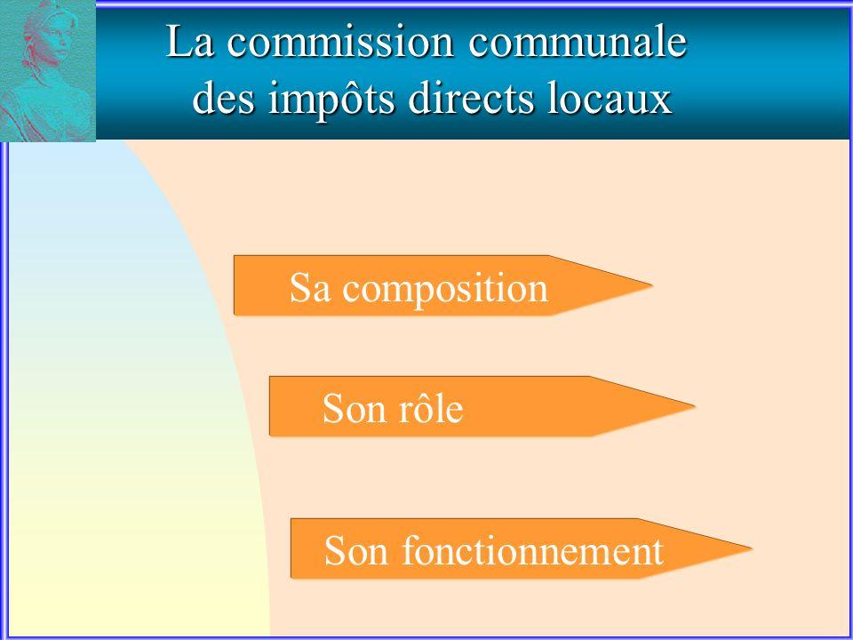 Sa composition Son rôle Son fonctionnement La commission communale des impôts directs locaux