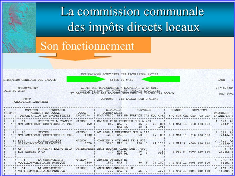 La commission communale des impôts directs locaux Son fonctionnement