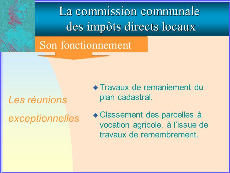 3. Le fonctionnement de la commission communale La commission communale des impôts directs locaux Son fonctionnement u Travaux de remaniement du plan