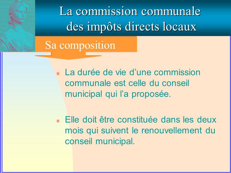 La commission communale des impôts directs locaux Sa composition n La durée de vie dune commission communale est celle du conseil municipal qui la proposée.