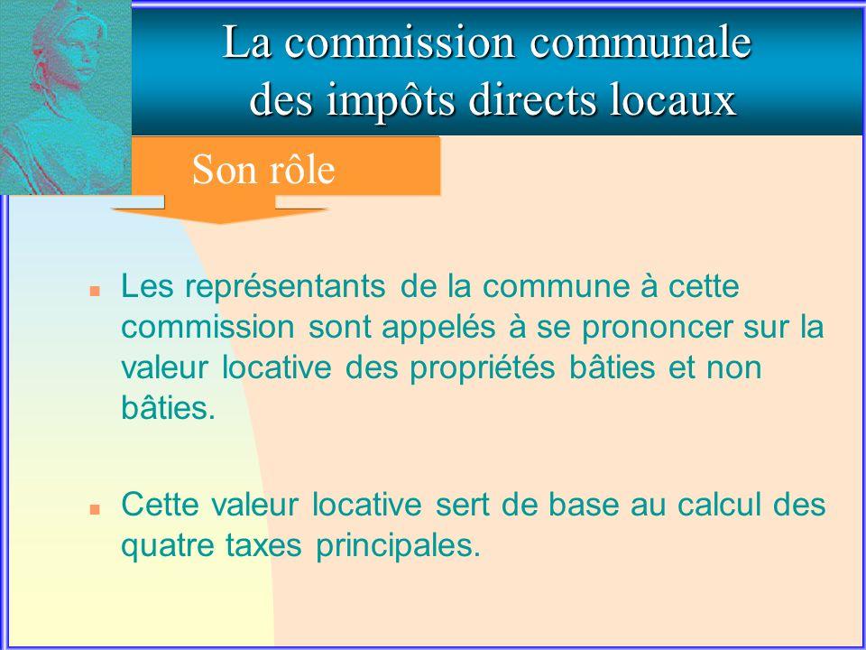 2. LE ROLE DE LA COMMISSION COMMUNALE La commission communale des impôts directs locaux Son rôle n Les représentants de la commune à cette commission