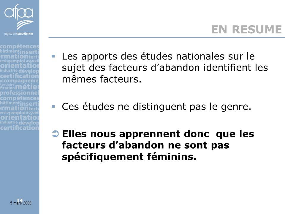 14 EN RESUME Les apports des études nationales sur le sujet des facteurs dabandon identifient les mêmes facteurs.