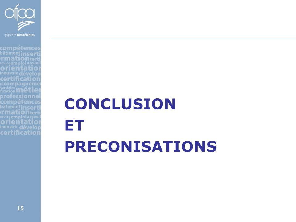 15 CONCLUSION ET PRECONISATIONS