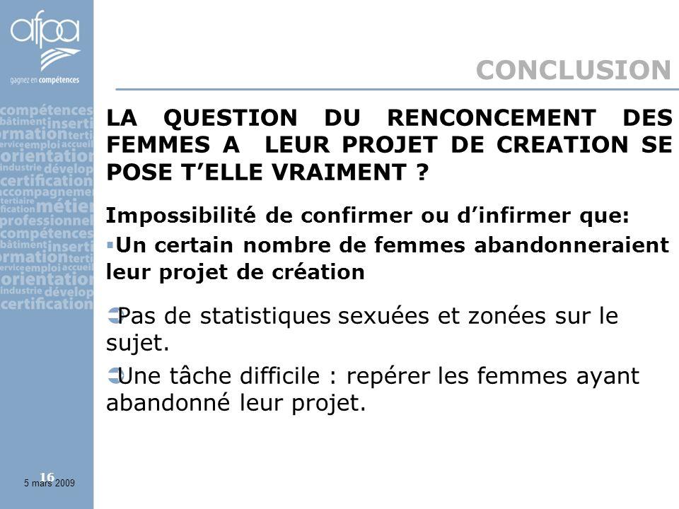 16 CONCLUSION LA QUESTION DU RENCONCEMENT DES FEMMES A LEUR PROJET DE CREATION SE POSE TELLE VRAIMENT .