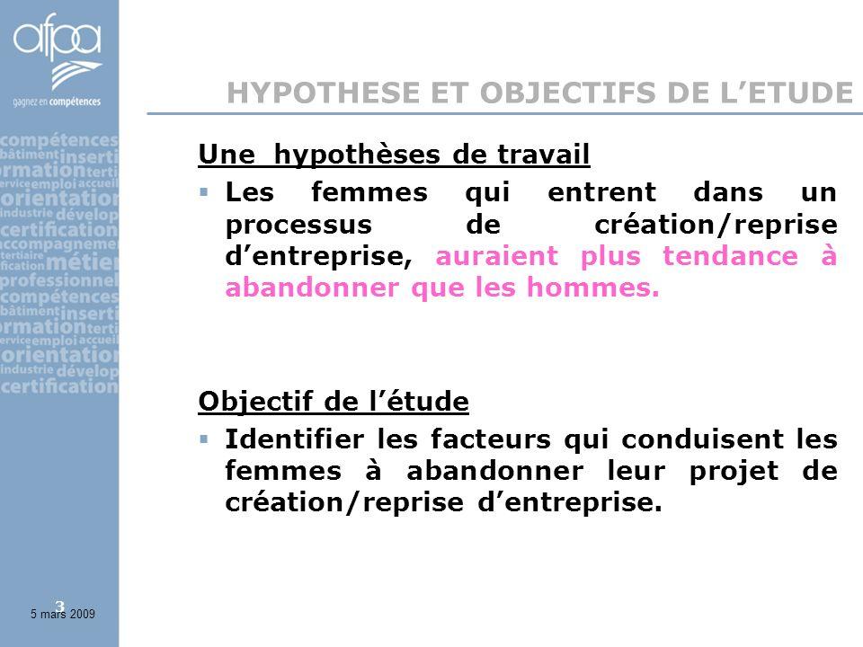 3 HYPOTHESE ET OBJECTIFS DE LETUDE Une hypothèses de travail Les femmes qui entrent dans un processus de création/reprise dentreprise, auraient plus tendance à abandonner que les hommes.
