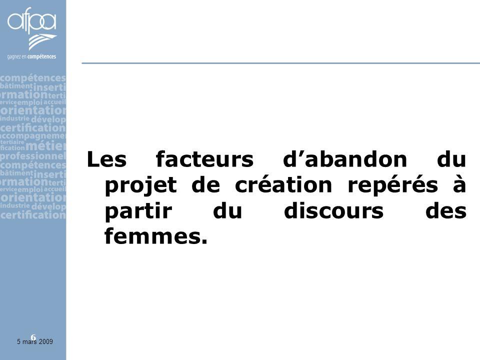 6 Les facteurs dabandon du projet de création repérés à partir du discours des femmes. 5 mars 2009