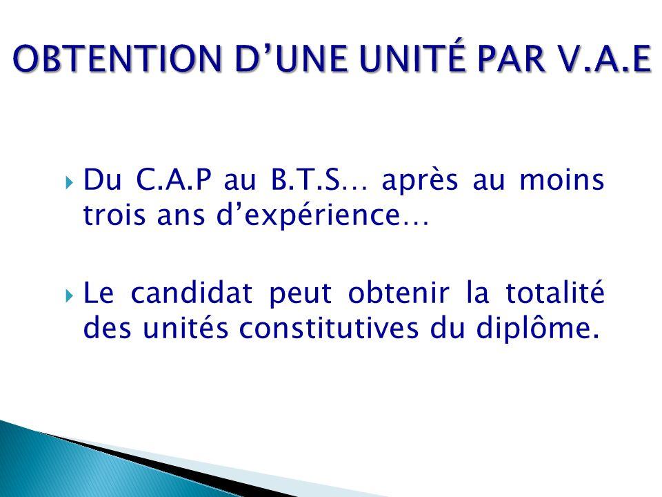 Du C.A.P au B.T.S… après au moins trois ans dexpérience… Le candidat peut obtenir la totalité des unités constitutives du diplôme.