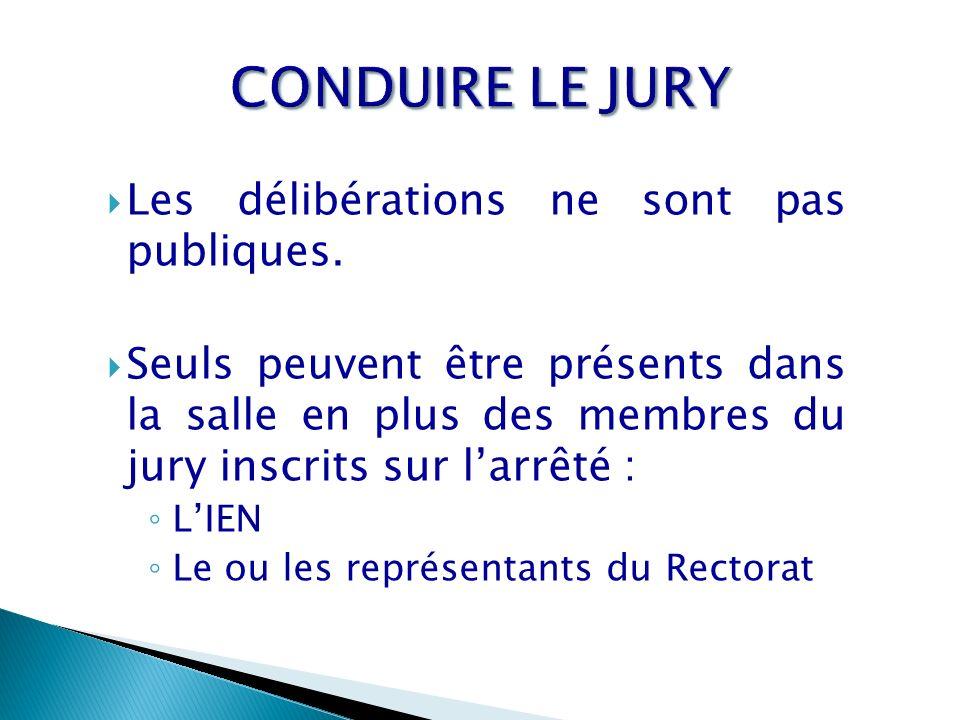 Les délibérations ne sont pas publiques. Seuls peuvent être présents dans la salle en plus des membres du jury inscrits sur larrêté : LIEN Le ou les r