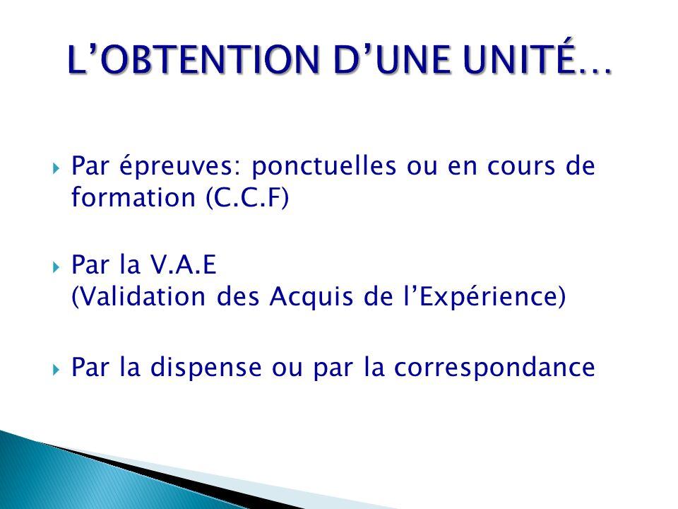 Par épreuves: ponctuelles ou en cours de formation (C.C.F) Par la V.A.E (Validation des Acquis de lExpérience) Par la dispense ou par la correspondanc