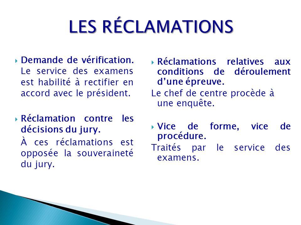Demande de vérification. Le service des examens est habilité à rectifier en accord avec le président. Réclamation contre les décisions du jury. À ces
