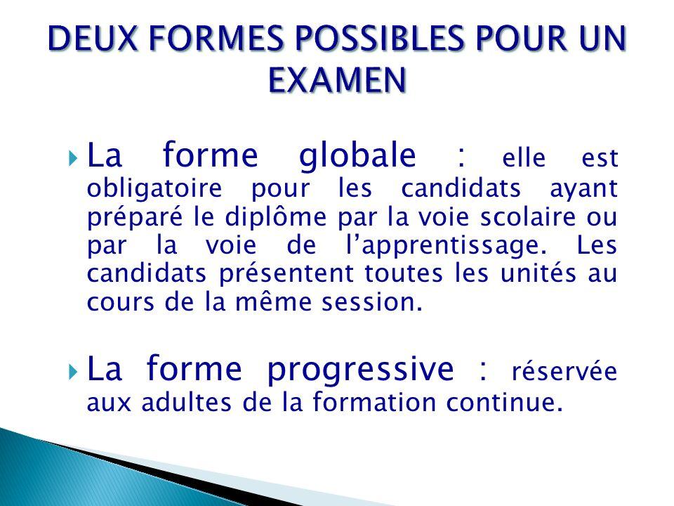 La forme globale : elle est obligatoire pour les candidats ayant préparé le diplôme par la voie scolaire ou par la voie de lapprentissage. Les candida