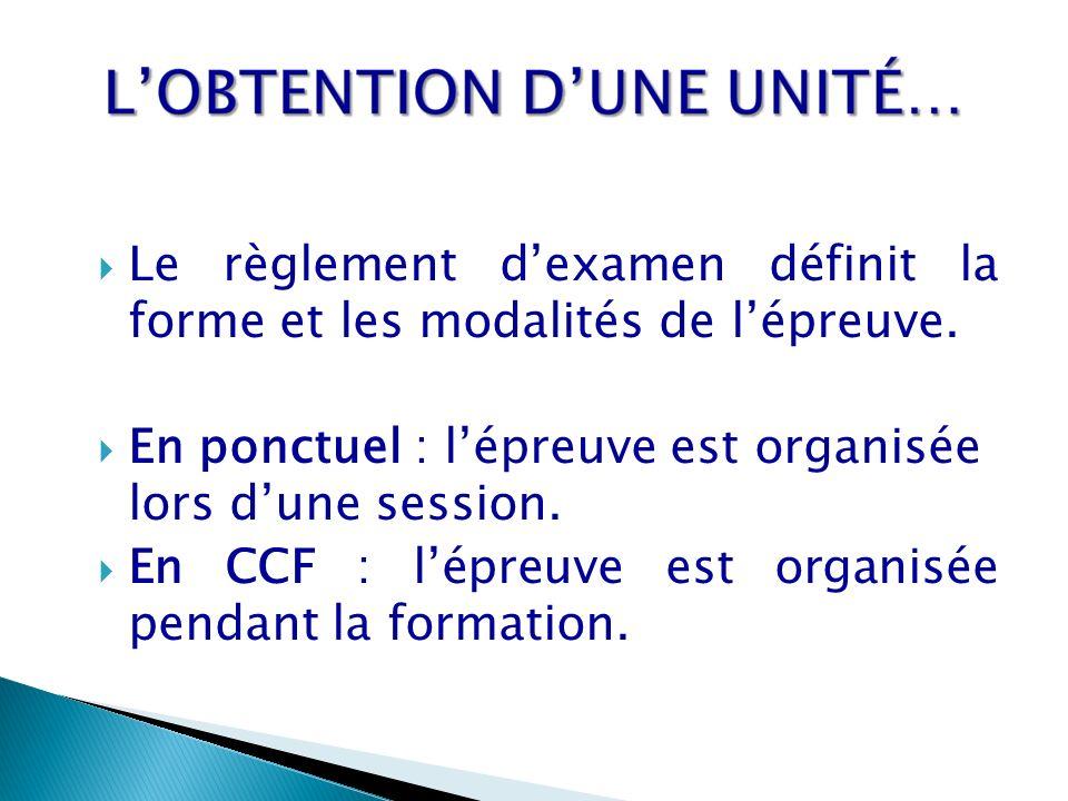 Le règlement dexamen définit la forme et les modalités de lépreuve. En ponctuel : lépreuve est organisée lors dune session. En CCF : lépreuve est orga