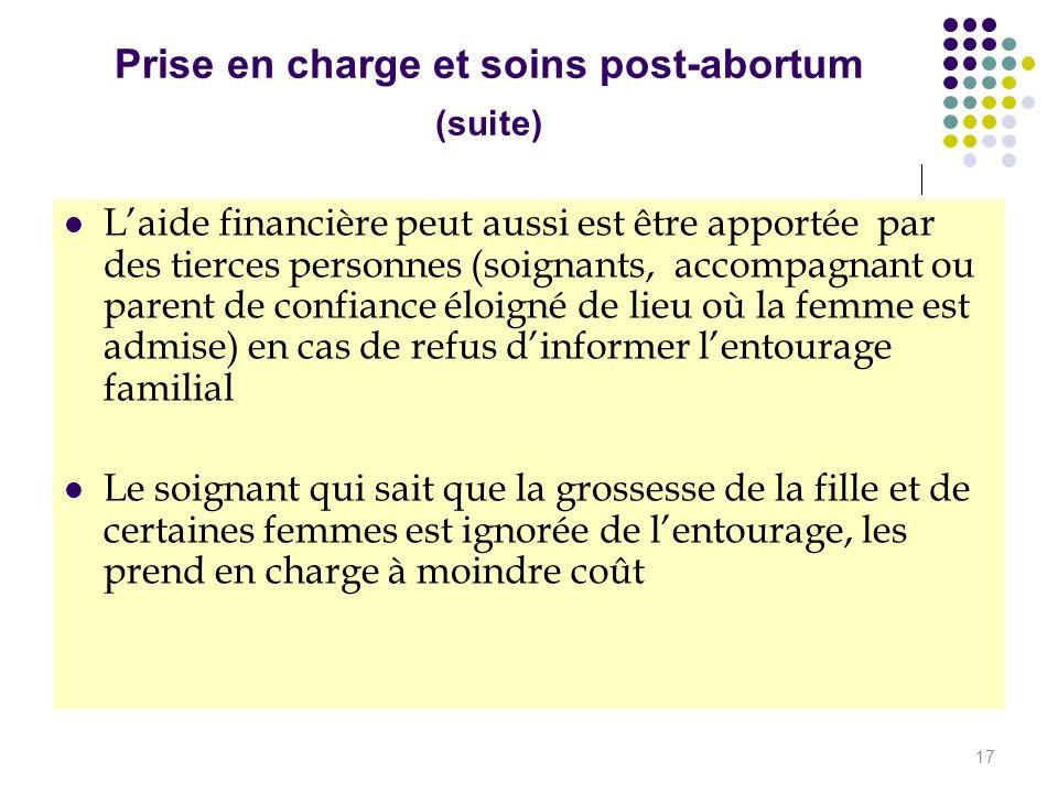 Prise en charge et soins post-abortum (suite) Laide financière peut aussi est être apportée par des tierces personnes (soignants, accompagnant ou pare