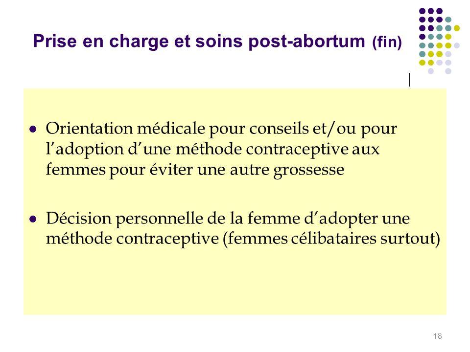 Prise en charge et soins post-abortum (fin) Orientation médicale pour conseils et/ou pour ladoption dune méthode contraceptive aux femmes pour éviter
