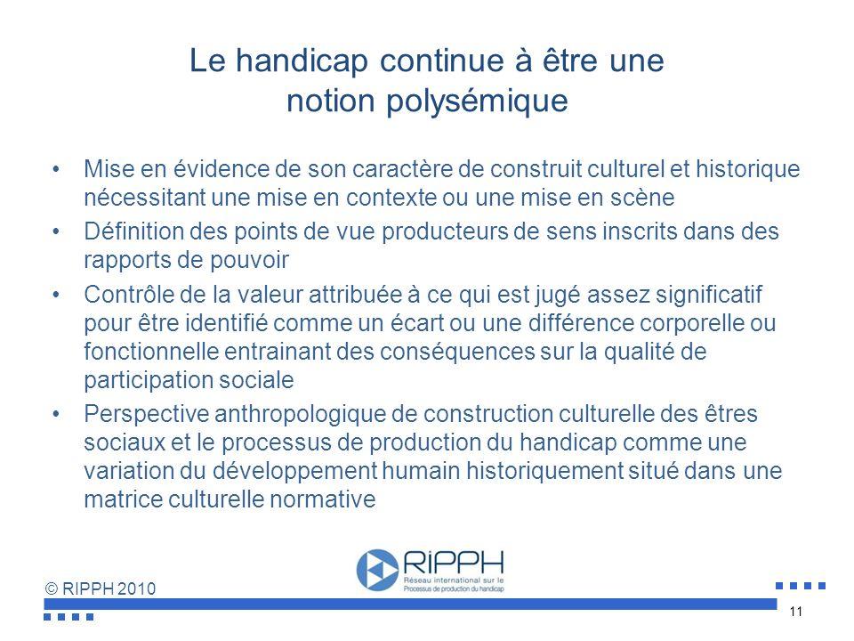 © RIPPH 2010 Qu'implique une perspective sociale de politisation du handicap ? La réduction ou la suppression des obstacles systémiques à la participa