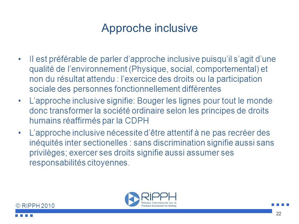 © RIPPH 2010 Évolution et distinction conceptuelle Institutionnalisation Désinstitutionnalisation Normalisation/valorisation des rôles sociaux Intégra