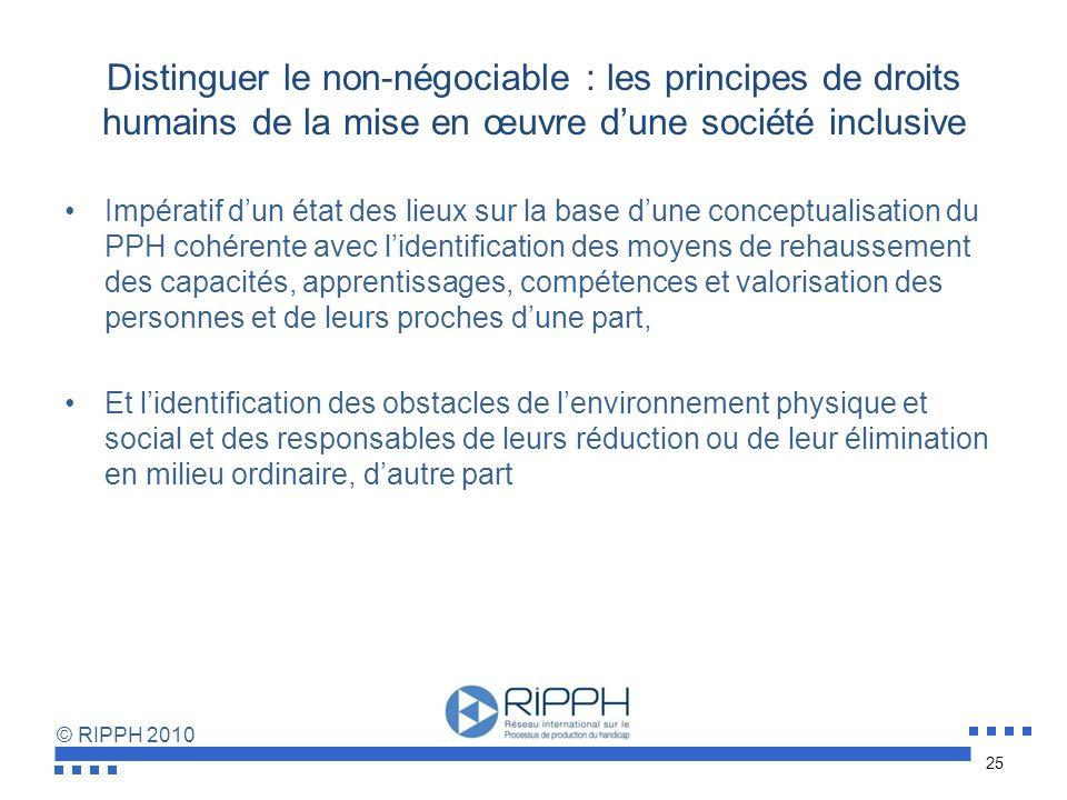 © RIPPH 2010 Tendre vers une société inclusive par des mécanismes de suivi et de vigilance continus Les acteurs publics responsables devraient dispose