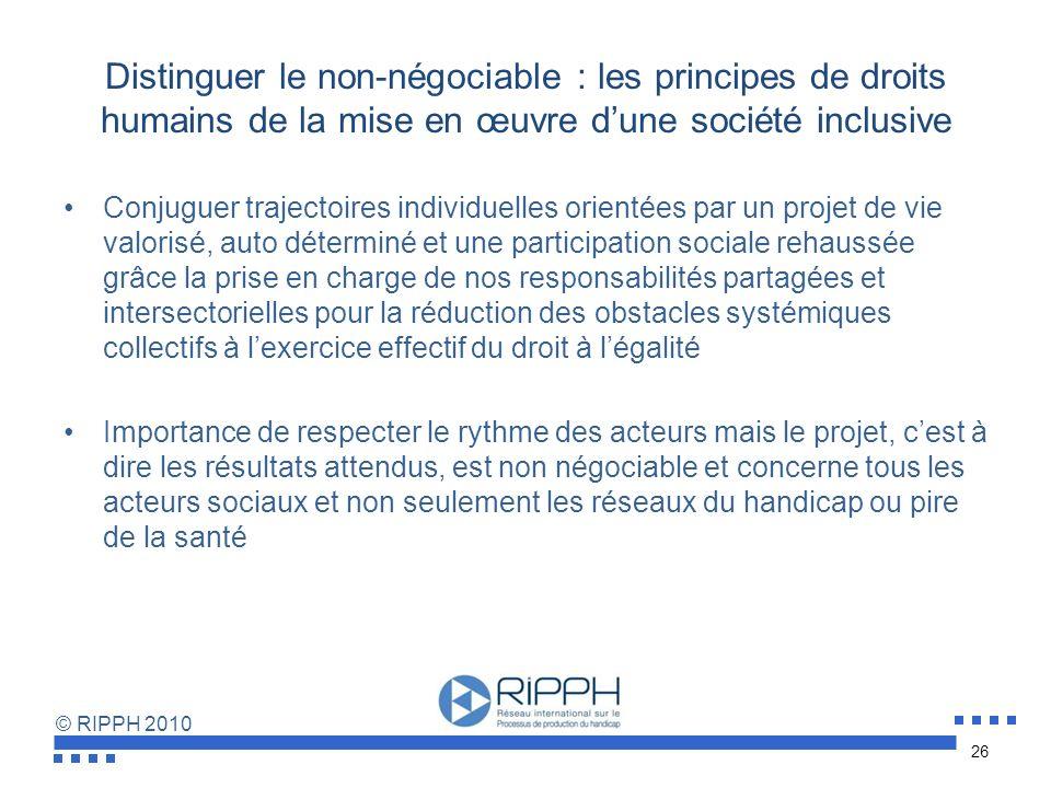 © RIPPH 2010 Distinguer le non-négociable : les principes de droits humains de la mise en œuvre dune société inclusive Impératif dun état des lieux su