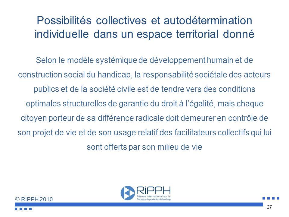 © RIPPH 2010 Distinguer le non-négociable : les principes de droits humains de la mise en œuvre dune société inclusive Conjuguer trajectoires individu