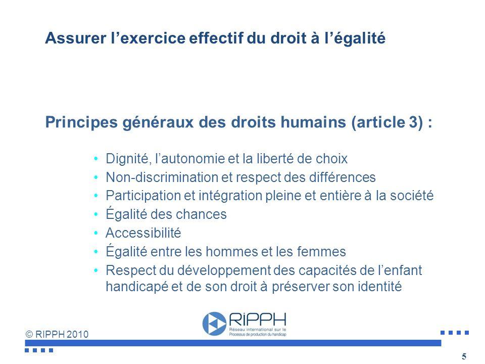 © RIPPH 2010 LA CDPH ne crée pas de nouveaux droits Objectif :La pleine jouissance des Droits de lHomme et libertés fondamentales par la personne hand