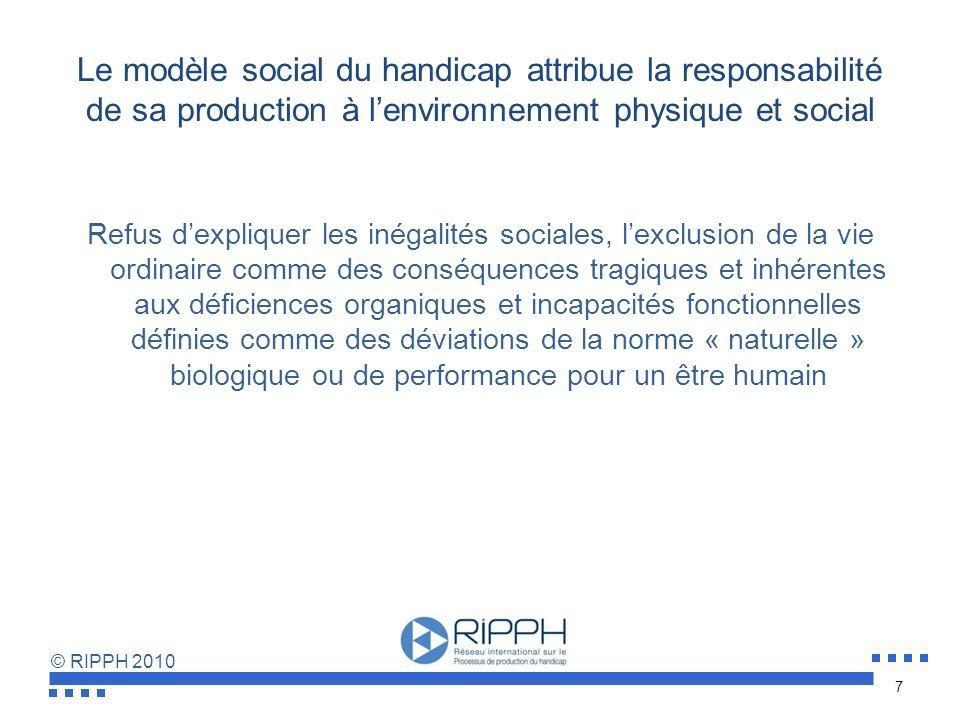 © RIPPH 2010 Le modèle individuel situe le problème à régler et fait peser la responsabilité du changement sur la personne fonctionnellement différent