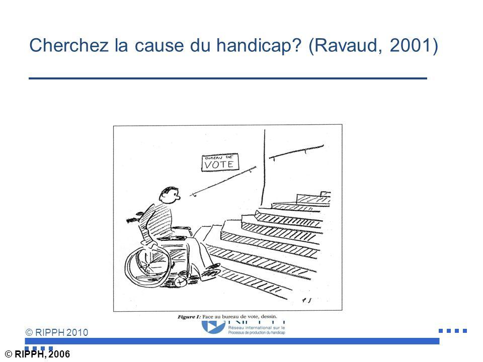 © RIPPH 2010 Le modèle social du handicap attribue la responsabilité de sa production à lenvironnement physique et social Refus dexpliquer les inégali
